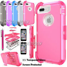 Belt Clip Clear Hard Case Cover For Apple iPhone 5 6 7 / 7 Plus + Tempered Glass