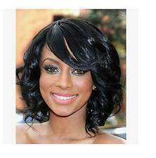 Black 100% Brazilian Virgin Human Hair Short Wave Full Lace Wig Lace Front Wig