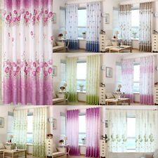 Floral Tulle Room Door Bay Window Curtain Blind Drape Panel Sheer Scarf Valances