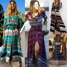 Sexy Women Summer Boho Long Maxi Dress Chiffon V Neck Beach Party Sundress HOT