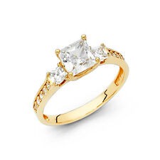 1.50Ct 14K Real Yellow Gold Princess Cut 3 Stone Engagement Wedding Promise Ring