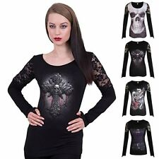 3D Goth Skull Women Long Sleeve Tops T-Shirts Lace Patchwork Punk Rocky Blouse