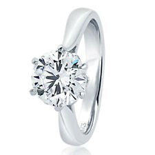 8MM Sterling Silver 2ct CZ 6 prong Classic Solitaire Wedding Engagement Ring