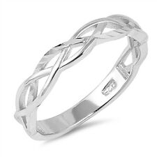.925 Sterling Silver Classic Braided Band Friendship Promise Ring Size 4-10 NEW