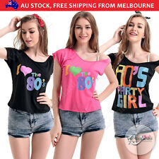 80's 80s T-shirt Party Costumes Women Girls fancy dress clothes fashion Top Tee
