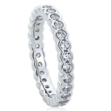 Women 3MM Sterling Silver Wedding Ring CZ Flat Top Eternity Ring Wedding Band