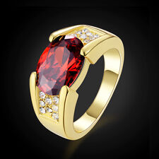 Solitaire Red CZ Garnet 18K Gold Filled Man's Band Ring Size 8-11 Jewelry