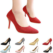 hana ladies shiny high heels formal Sparkle Pumps Office Womens Court Shoes Size