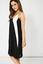 New Black White Fully Lined Spaghetti Strap Dress Cocktail Summer Party  4 to 20