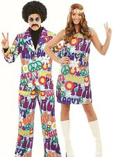 Couples Ladies AND Mens 60's 70's Hippy Carnival Fancy Dress Costumes Outfits