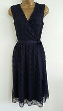 NEW M&Co 8-20 Navy Floral Lace Pleated Dress Wedding Summer Evening Tea Party