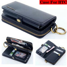 Luxury Zipper Multifunction Flip Leather Wallet Case Cover For HTC Models