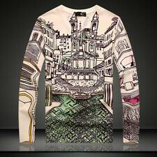 Men's Just Cavalli Cotton Long Sleeves Graphic Building Printed Simple T-shirt