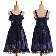 Women Dark Purple Lolita Starry Dress Cute Suspender Sleeveless Bows Lace Dress