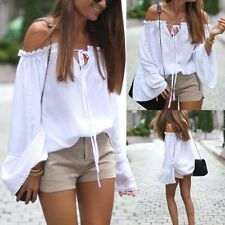 Ladies Loose Casual Off Shoulder Blouse Women's Pleated Lace-up T-shirt Tops