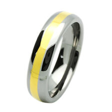 6MM Comfort Fit Tungsten Carbide Wedding Band Gold Tone Domed Ring Free Gift Box