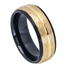 8MM Tungsten Carbide Wedding Band Stepped Edge Black Hammered Gold Tone Ring