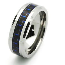 8MM Comfort Fit Tungsten Carbide Wedding Band Carbon Fiber Inlaid Pattern Ring