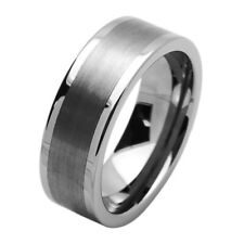 8MM Comfort Fit Tungsten Carbide Wedding Band Flat Brushed Ring / Free Gift Box