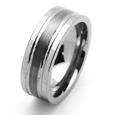 Men 8MM Comfort Fit Tungsten Carbide Wedding Band Brushed Groove Ring