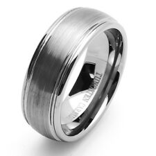 Men 8MM Comfort Fit Tungsten Carbide Wedding Band Domed Ring / Free Gift Box