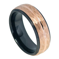 Men 8MM Tungsten Carbide Wedding Band Stepped Hammered Black Rose Gold Tone Ring