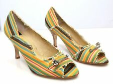 Ginger Goff Becca Multi Color Stripe Fabric Heel Yellow Brown Green Shoes