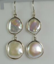 Fresh Water Coin Pearl 925 Solid Sterling Silver Handmade Dangle Drop Earrings