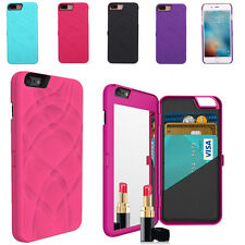 Flip Beauty Makeup Mirror Case With Card Holder Cover for Apple iPhone 7 4.7""