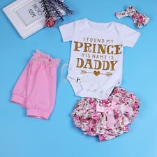 4PCS Infant Baby Girls Floral Letters Printed Romper with Bloomers Pants 0-12M
