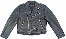 Waist Length Men's Black Motorcycle Leather Jacket.Classic Causal Belted Vintage