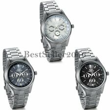 Luxury Decoration Dial Stainless Steel Strap Band Quartz Analog Mens Wrist Watch
