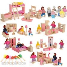 Kid Child's Role Play Pretend Wooden Furniture House Family Miniature Dolls Toy