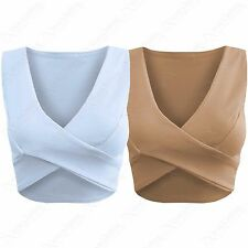WOMENS CROSSOVER FRONT CROP VEST CREPE TOP LADIES WRAP OVER SLEEVELESS V NECK