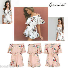Gamiss Sexy Boho Chiffon Overalls Off Shoulder High Waist Floral Print Playsuit