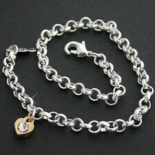 """ALL ANKLET SIZES 9""""-14"""" -2 Tone   CRYSTAL HEART CHARM BELCHER FOOT CHAIN ANKLET"""