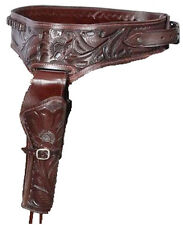 Authentic Cowboy Western Leather Gun Holster/ Belt in Brown 38/357 Caliber Right