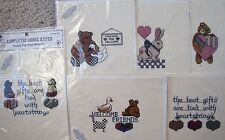 Choice Vintage Olde Towne Completed Cross Stitch for Projects Bunny Hearts Bears