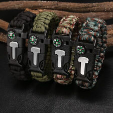 Rope Paracord Survival Bracelet Flint Fire Starter Compass Whistle Outdoor