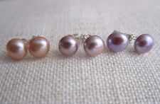 Cultured Pearl Stud Earrings on 925 Silver Post Purple Lilac Pink 7/8 mm - NEW