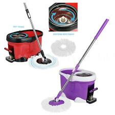 360°Rolling Spin Mop & Bucket Set Foot Pedal Rotating W/ 2 Mop Heads New D4E9