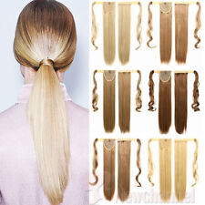 Long Wavy Straight Clip in Ponytail Pony tail Hair Extension Fake hair piece ncs