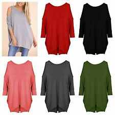 WOMENS LADIES CUT OUT COLD SHOULDER BATWING LONG TOP TUNIC DRESS PLUS SIZE 8-26