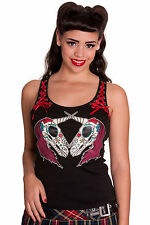 S or XS Hell Bunny Unicorn Candy Skull Vest Top. tattoo goth punk NEW Black 8 10