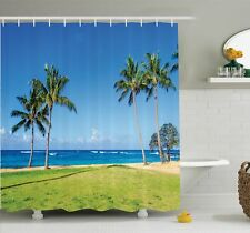 Ambesonne Tropical Coconut Palm Hawaii Shower Curtain Set