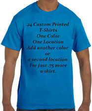 24 Custom Printed T-Shirts One Color, Two Color, One Location, Two Location