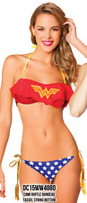Wonder Woman DC Comics Ruffle Bandeau Woman Summer Swim Bathing Suit Bikini Set