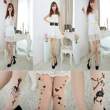 5Styles Sexy Women Lady Girl Tattoo Heart Flower Printing Silk Stockings Legging