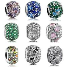 S925 Sterling Silver Pave Mixed Mosaic CZ Ball Charm Bead Fit European Bracelet