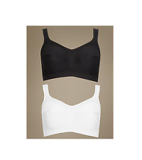 EX M&S LADIES 2 Pack High Impact Non-Wired Sports Bras IN WHITE/BLACK (M1)